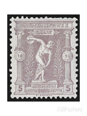 A Discus Thrower. Greece 1896 Olympic Games 5 Lepta Unused - Philatelic Collections, Giclee Print at AllPosters.com