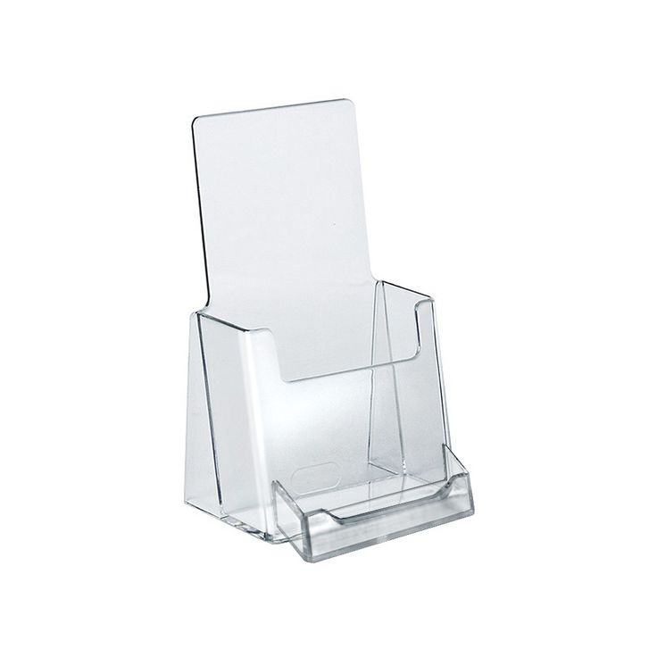 Azar Trifold Brochure Holder With Business Card Pocket 10ct, Clear