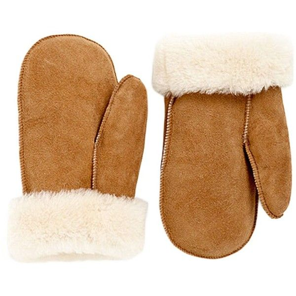 HUDSON'S BAY COMPANY Shearling Mittens (145 AUD) ❤ liked on Polyvore featuring accessories, gloves, camel, mitten gloves, shearling gloves and shearling mittens