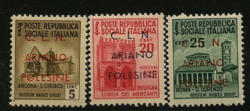 Ariano Polesine C.L.N. - non emessi sopr. I tipo su 3 val. Mon. distrutti: 5, 20 e 25 c. (Cert. Ray-Errani 39/41). Cert. Ray.