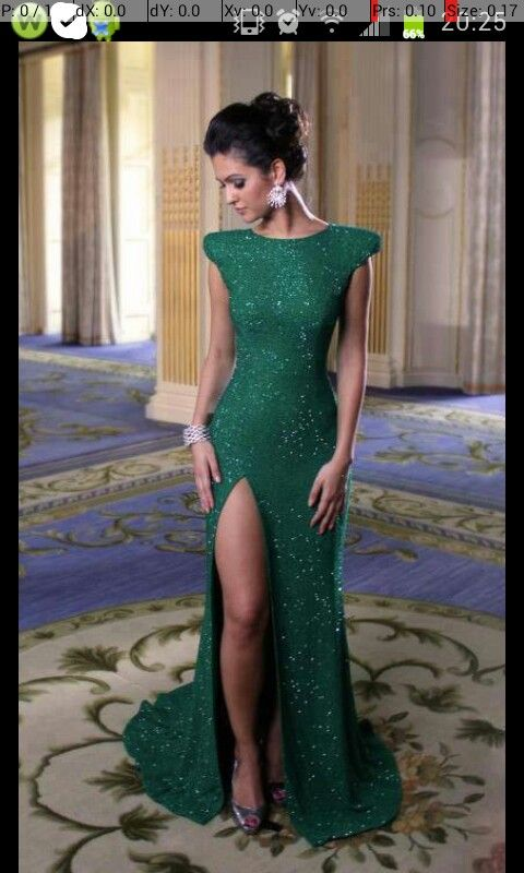 Green sparkly dress with slit