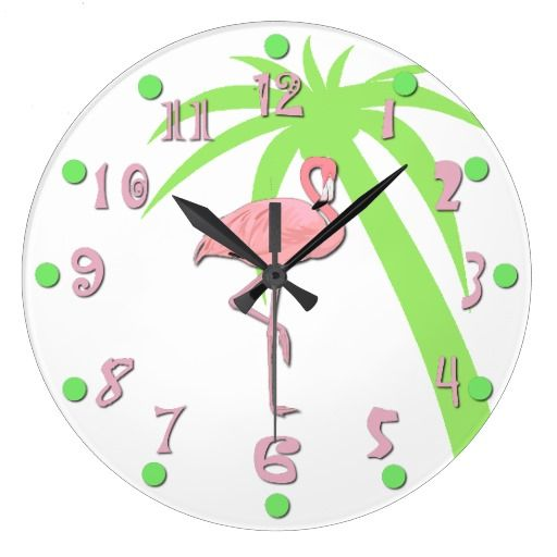 Whimsical tropical wall clock done with a white background and graphics of a pink flamingo, in the middle, and a green palm tree silhouette off to the side.  Fun pink numbers and green dots finish off this great clock.  Customize to add any text you want.