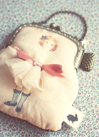 Vintage paper doll coin purse