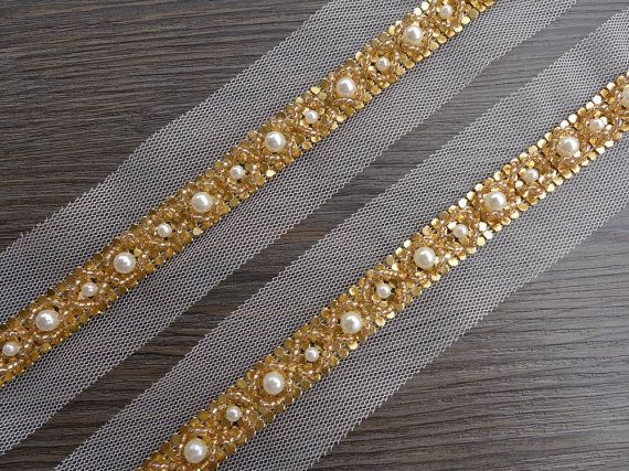 Wedding Beaded Trim Gold Pearl Lace Trim Bridal Belt
