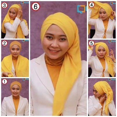 Cara memakai hijab segiempat pesta
