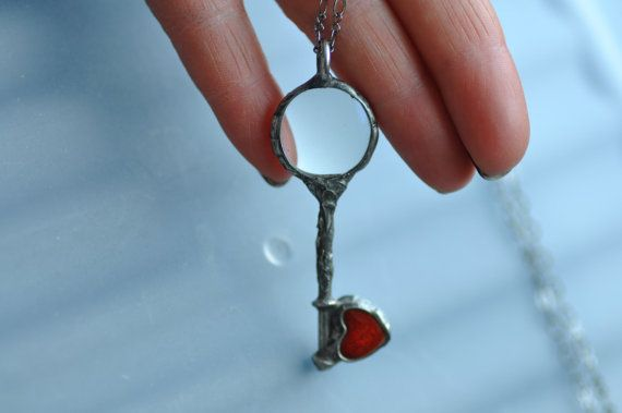 Valentines day gift unique LOUPE heart pendant by by zolanna