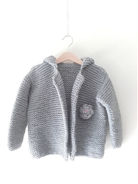 Handmade made knitted baby girl grey wool by EVAKAYcollection