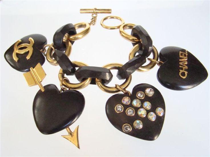 Rare Vintage Chanel Wood Heart Charm Bracelet