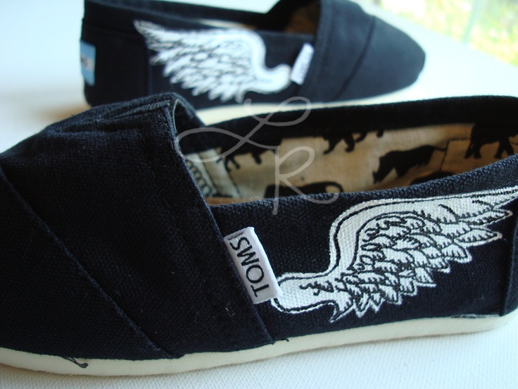 wings hand painted on TOMS shoes-made to order. $90.00, via Etsy.