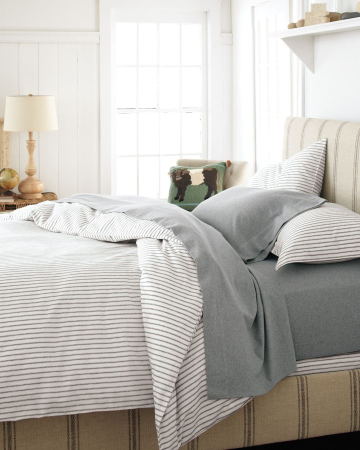 Paintbrush Ticking Stripe Flannel Bedding