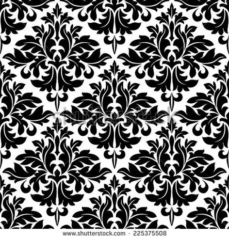 Black and white floral arabesque pattern with a geometric diamond shape in a seamless background - Shutterstock  - original image