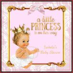 """Girl Baby Shower White Pink Gold Damask. Blonde Baby Shower, Little Princess is on her way, Baby Shower. Elegant Diamonds Pearls Bow Girl with Tutu Baby Shower. Elite Baby Shower. """"it's a Girl!"""""""