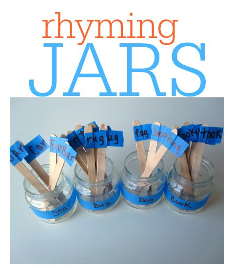 These rhyming jars are so easy to make - use pictures if kids aren't reading yet.
