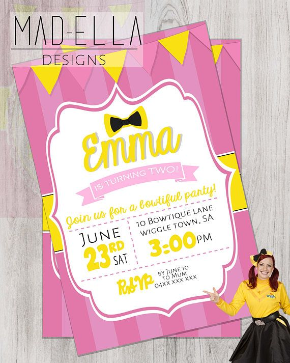 Have a Emma/Wiggles a fan in the house?? Then this invitation is sure to impress! 6X4 or 5X7 invitations! (Other sizes can be arranged) JPG emailed to you to print off as many times as you like! Things to include; -Name of Child -Age -Party address -Date -Time -RSVP date and number