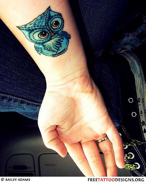 Owl bird tattoo ink girl blue green