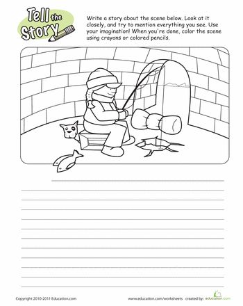 tell the story fishing worksheets the story and fishing. Black Bedroom Furniture Sets. Home Design Ideas