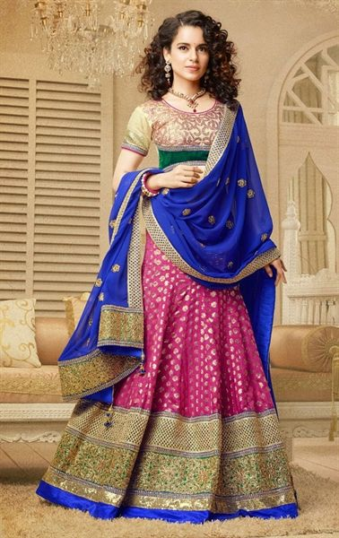 Vivacious Pink Color Wedding Lehenga Choli Kangana Ranaut