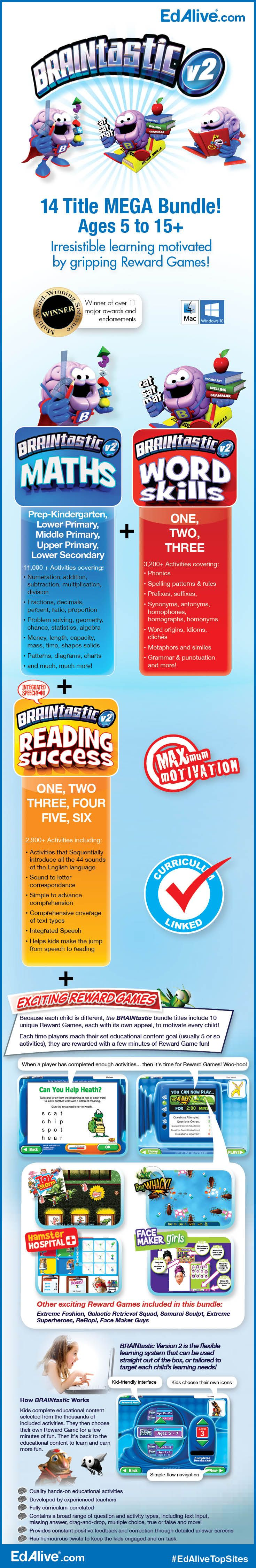 Irresistible learning motivated by gripping Reward Games!  Includes over 17,000 carefully sequenced learning activities from BRAINtastic Maths, BRAINtastic Word Skills and BRAINtastic Reading Success! You can customise the Work/Play ratio to maximise your child's learning. #Mathematics #Reading #WordSkills #EdAliveTopSites