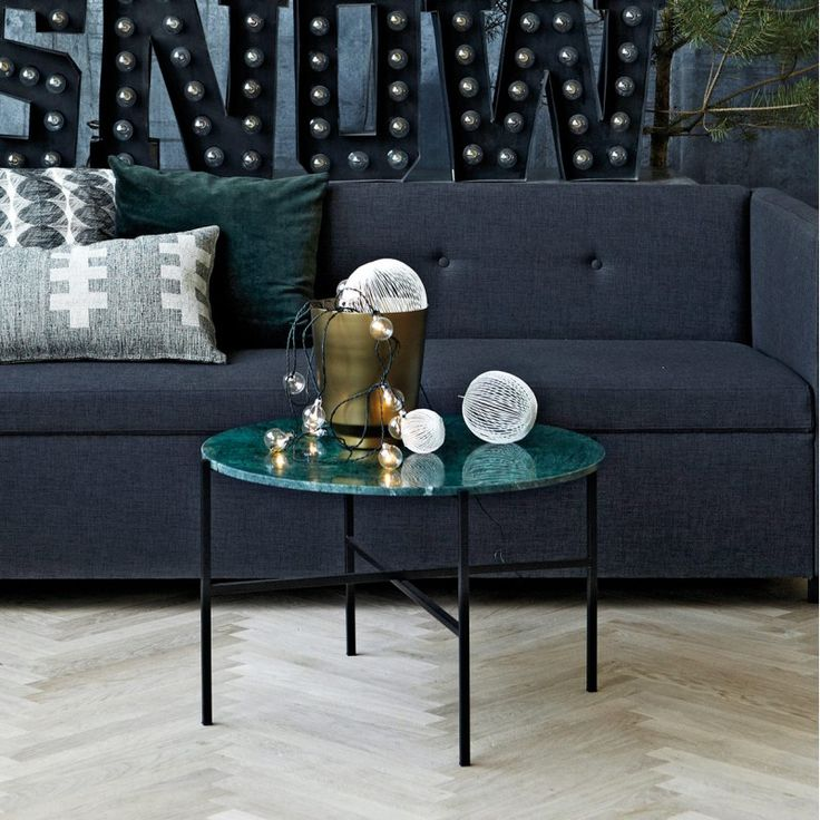 2.090,- NOK / House Doctor Coffee Table/Side Table green marble/iron L / Ø70cm H45cm
