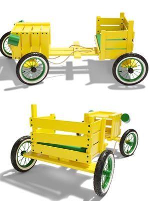 Maak zelf een speelgoedauto van steigerhout met een houten krat.