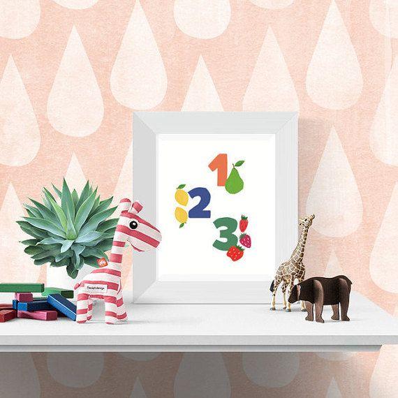 Printable Nursery Wall Art, Numbers and Food