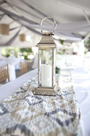 silver lantern and ikat centerpiece | Jared Lister #wedding