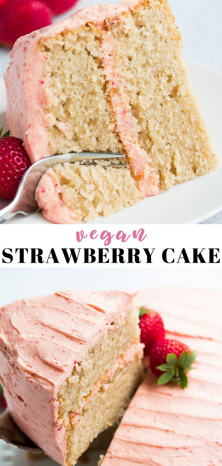 The BEST Vegan Strawberry Cake ever, made with rea…