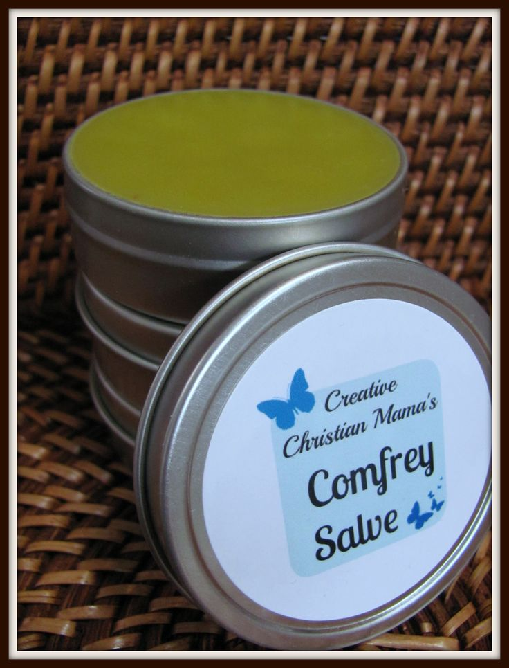 Comfrey Salve Comfrey heals skin, muscle and even bone. Use it to heal cuts, scrapes, bruises, sprains, sore muscles and  even a broken toe.  It has trans-dermal healing properties, meaning that it soaks through the skin, into the tissue and bone.