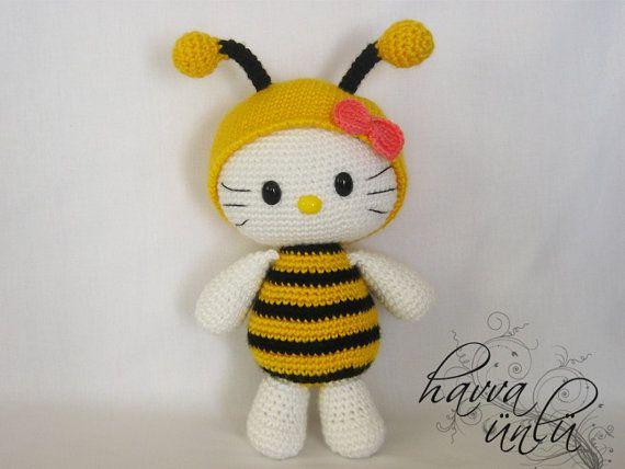 Amigurumi Crochet Pattern Kitty in Bee Costume by HavvaDesigns, $7.00
