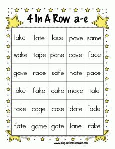4 In A Row Magic E Bingo! Printable Freebie with the Long A sound from Make, Take, Teach.  #phonics