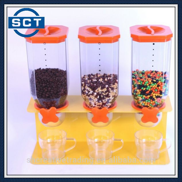 Triple Cereal Dispenser Droog Voedsel Opslag Container Dispenser Geel