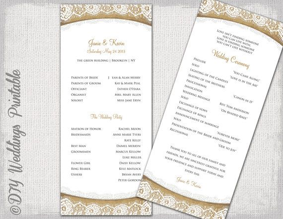 37 best Wedding Program Templates images on Pinterest Wedding - wedding program template