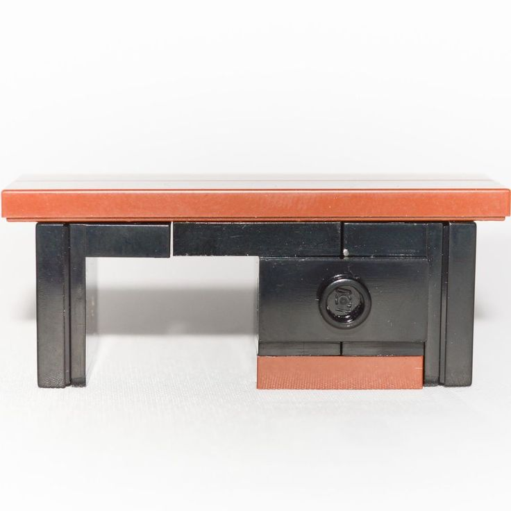 LEGO Furniture: Small Desk (Brown/Black) - great for Minifigure Office or Study #LEGO