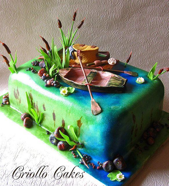 Fishing pond cake