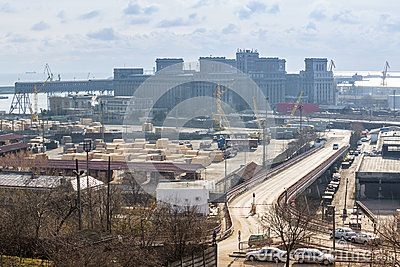 CONSTANTA, ROMANIA - JANUARY 7: The international industrial port of Constanta on the shore of the Black Sea on January 7, 2013 in Constanta, Romania.
