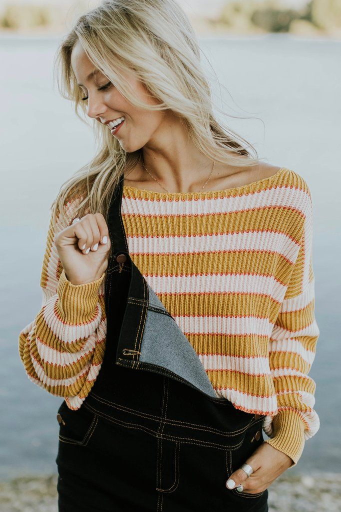 aa4732001a3 Free People Just My Stripe Pullover Sweater