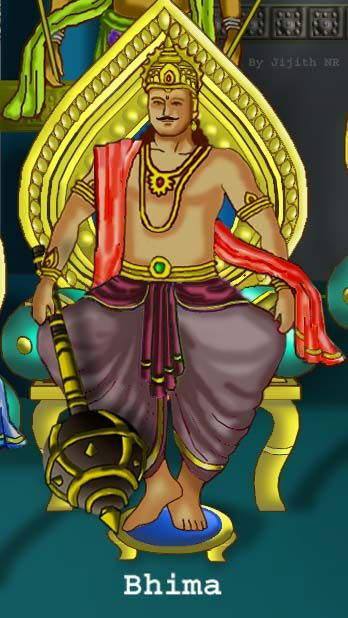 Bhima - In the Hindu epic Mahabharata, Bhim (Sanskrit: भीम, (lit. 'one with a wolf's belly' also in Javanese: Werkudoro, is the second son of King Pandu & Queen Kunti (with help from Lord Vayu, God of wind). He is one of the central characters and is symbolic of great strength.