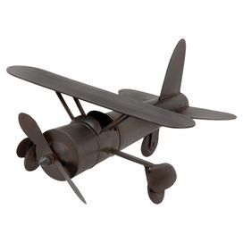 "Brimming with vintage-inspired charm, this chocolate-finished metal plane decor is perfect for accenting your desk or highlighting a child's bookshelf.  Product: DecorConstruction Material: MetalColor: Rich chocolateDimensions: 9"" H x 18"" W x 15"" D"