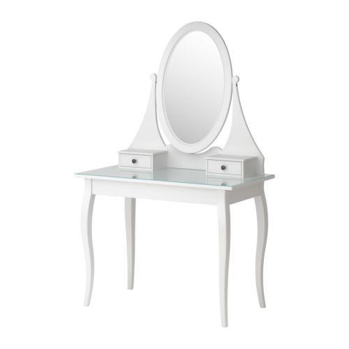 HEMNES Toilettafel met spiegel IKEA Voorzien van beschermfilm - vermindert het risico op letsel en beschadigingen als het glas zou versplinteren.
