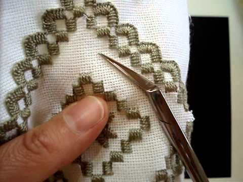 Hardanger Embroidery, Lesson 8, Cutting the interior - YouTube