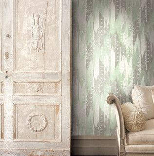 Abstract Stripes Wallpaper in Greens and Neutrals design by Seabrook Wallcoverings