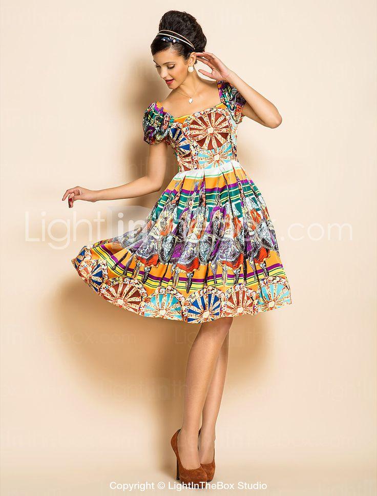 TS этнические платья качели для печати - USD $ 35.99