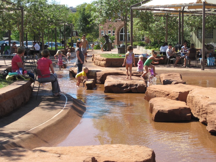 kids enjoying the water at Town Square Park in St George Utah