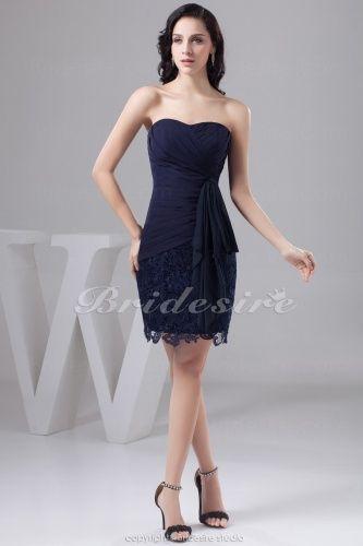 Sheath/Column Strapless Short/Mini Sleeveless Chiffon Lace Dress - $79.99 bridesmaid