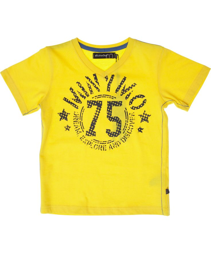 Minymo vibrant yellow V-neck T-shirt. minymo.en.emilea.be