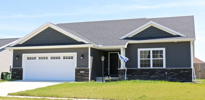 Ironstone Dark Grey Siding And Shakes White Trim And Black Roof In Mahomet Il Gray House Exterior Dark Blue Houses Dark Grey Houses