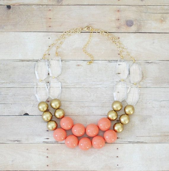 Hey, I found this really awesome Etsy listing at https://www.etsy.com/listing/213107236/gold-and-coral-statement-necklace-chunky