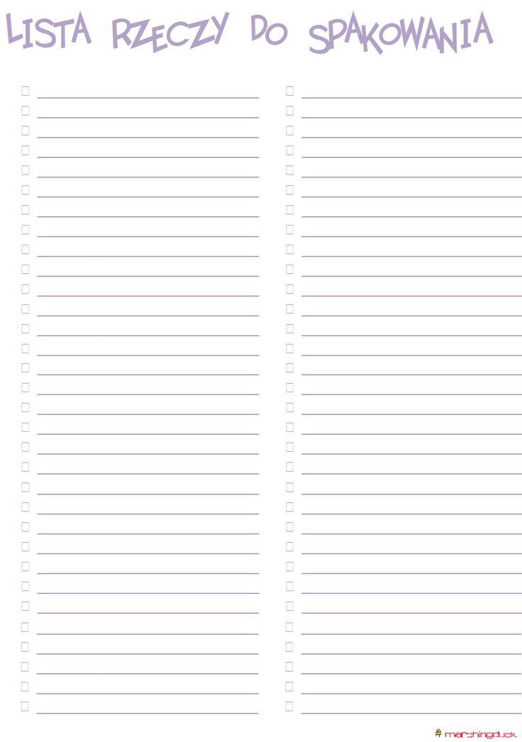 Lista rzeczy do spakowania fioletowa