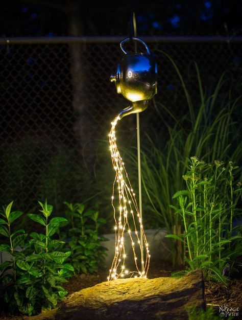 DIY Spilling Solar Lights {Teapot Lights} | Easy, budget friendly and one of a kind DIY backyard ornament and landscape lights | Upcycled teapot | Step-by-step tutorial for DIY spilling solar lights {Teapot solar lights} | DIY whimsical garden lights | Before & After | TheNavagePatch.com