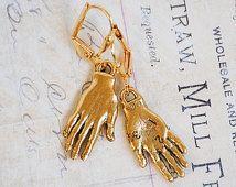 Gouden HAND oorbellen Frida Kahlo charmeert grillige Handlijnkunde Fortune Teller sieraden Horror macabere kostuum juwelen
